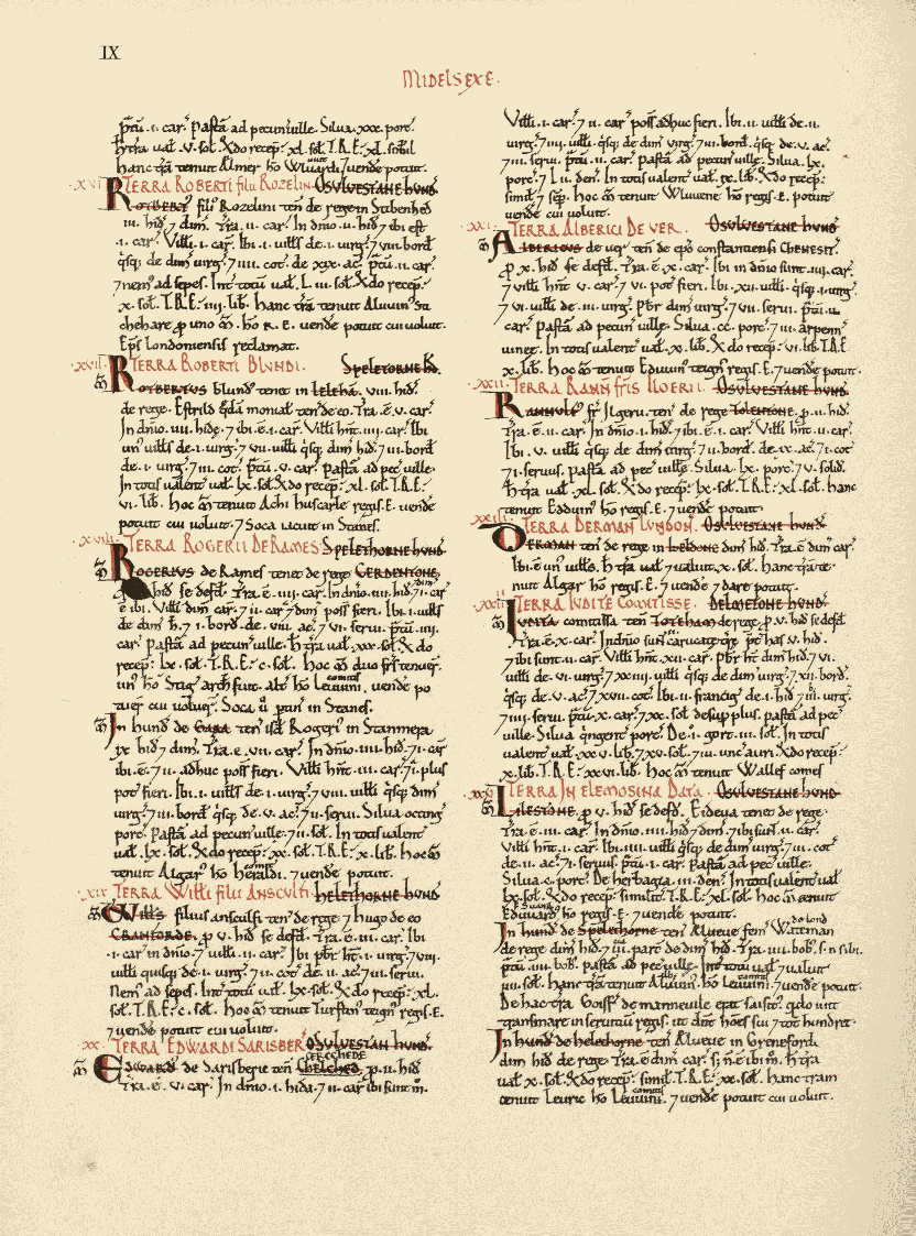 original folio of middlesex  page 9 in domesday book
